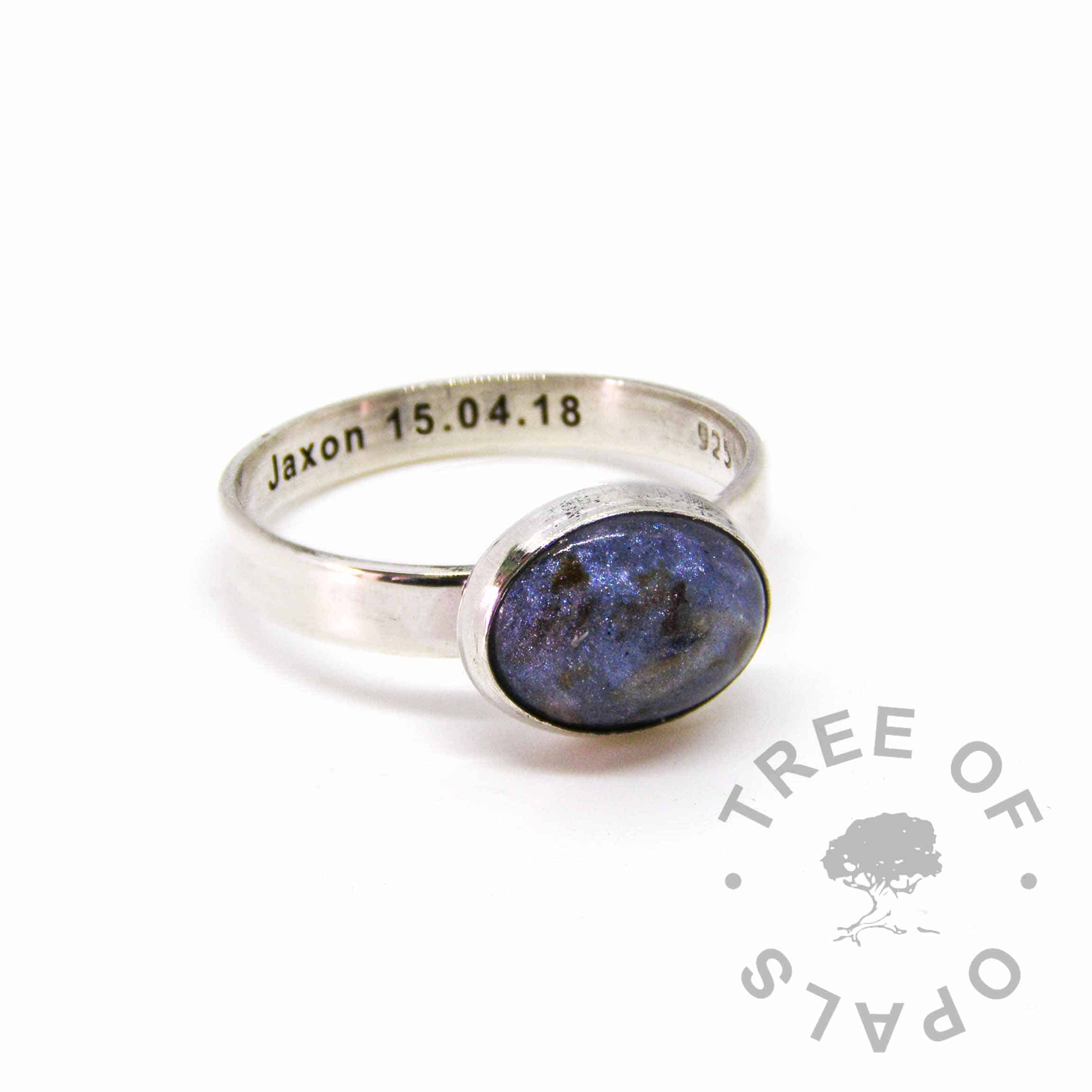 blue umbilical cord ring, 3mm shiny band engraved with a name and date of birth. Handmade in solid sterling silver