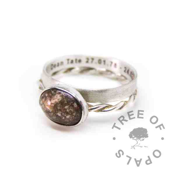 cremation ash stacking ring on twisted wire band and engraved ring on 3mm brushed band