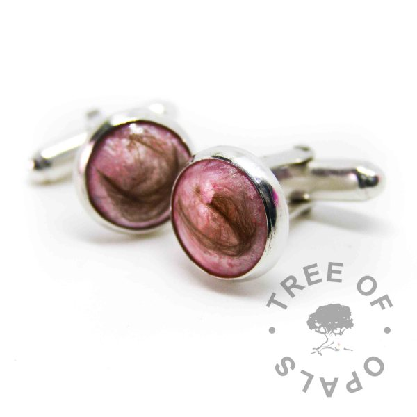 lock of hair cufflinks fairy pink sparkle in handmade solid sterling silver setting. *tw* baby hair memorial non-profit order, hair swirled round in the resin