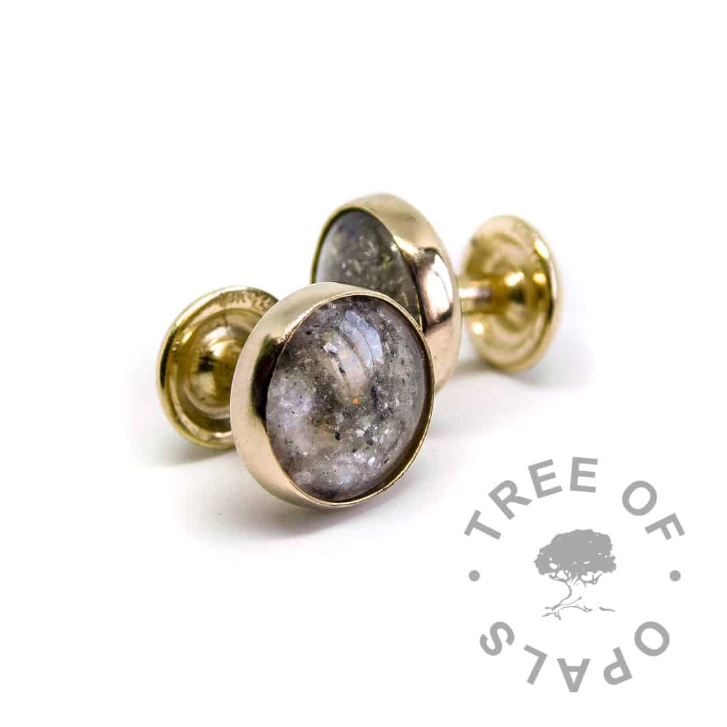solid 14ct gold cremation ash cufflinks with October birthstone and clear resin, 14ct ash cufflinks opal