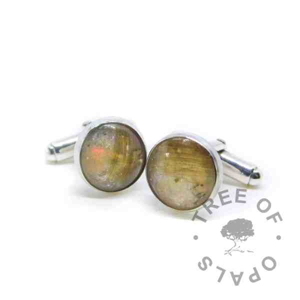 lock of hair cufflinks opal October birthstone, handmade memorial cufflinks