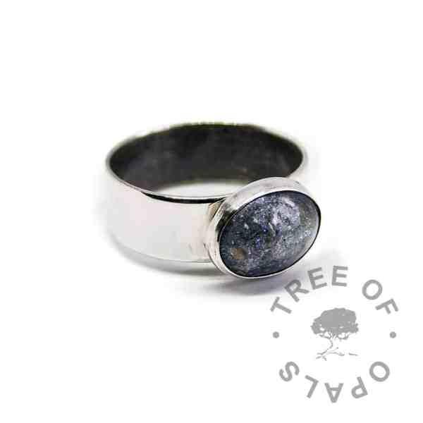 aegean blue ash ring on 6mm shiny ring
