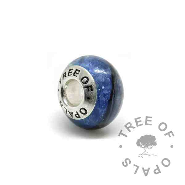 blue hair memorial charm bead, Aegean blue sparkle mix and solid sterling silver Tree of Opals core