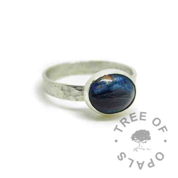 blue hair memorial ring on textured wire eco silver handmade band, Aegean blue sparkle mix