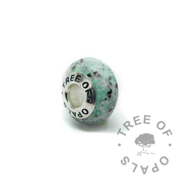 glass ash charm in green (colour mockup). Handmade solid sterling silver charm beads for Pandora bracelets, memorial jewellery by Tree of Opals