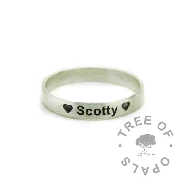 wide band stacking ring engraved outside in arial font brushed band memorial ring