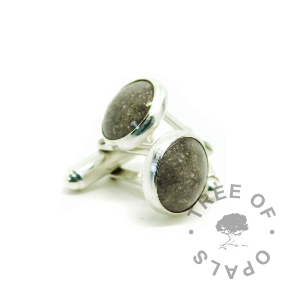 cremation ash cufflinks classic clear resin, solid sterling silver 12mm setting