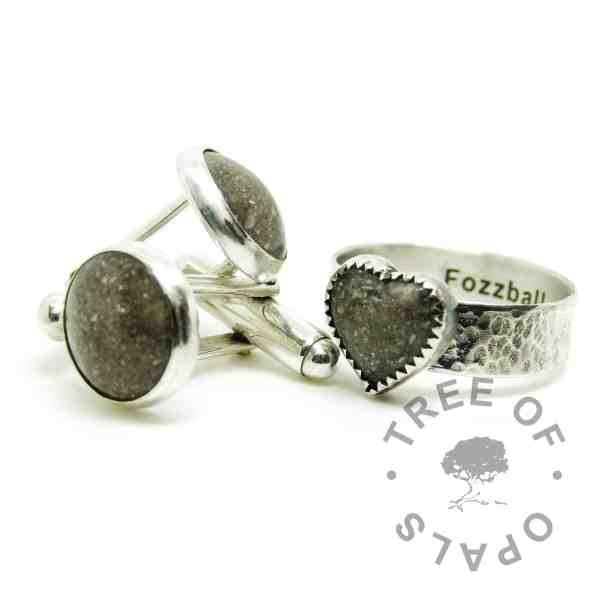 cremation ash family order cufflinks ring, clear classic ash, heart ring textured 6mm band