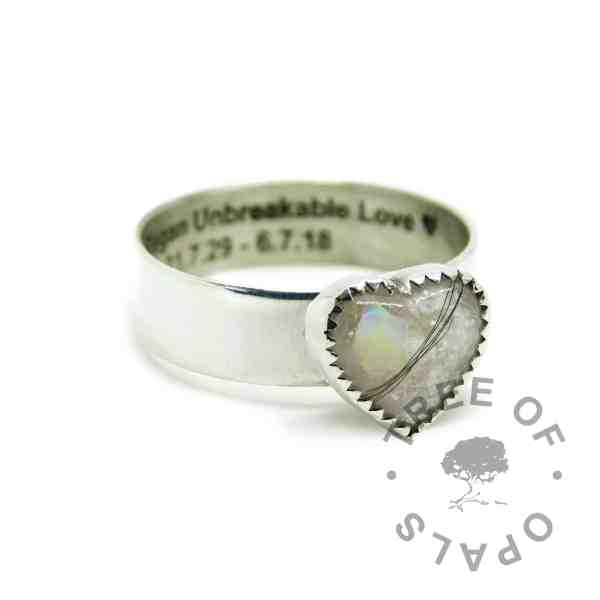 6mm shiny band hair heart ring engraved inside memorial in arial font, white hair and unicorn white resin sparkle mix, October birthstone genuine opal slices