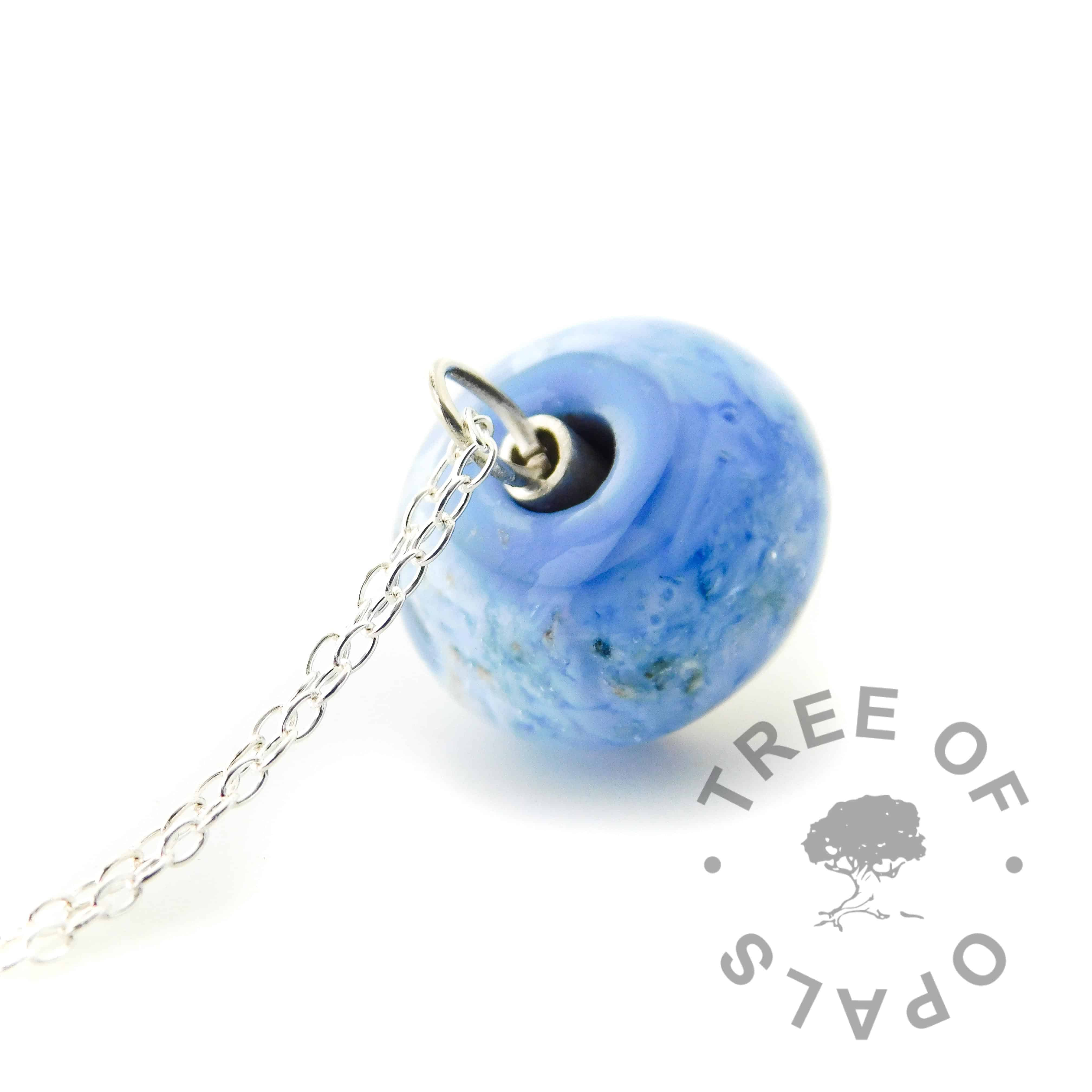 glass cremation blue ash orb top shiny silver dome necklace