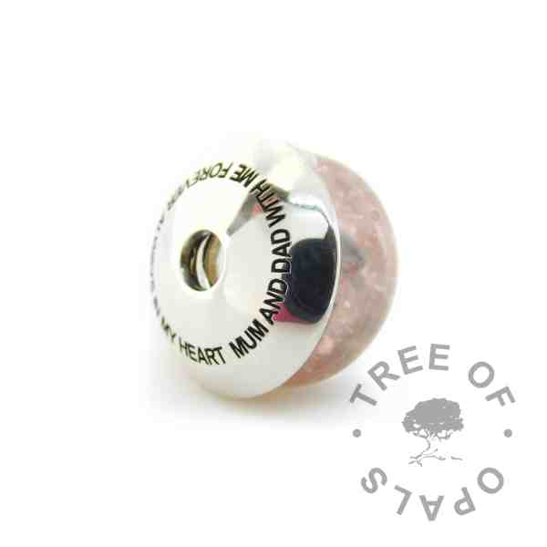 engraved charm washer with pink cremation ash charm. Arial font in all-caps requested by client.