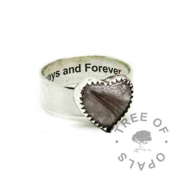 engraved solid eco silver 6mm wide band shiny ring with brown hair and white sparkle mix