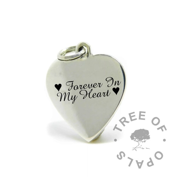 engraved heart pendant in Amazone BT font, Forever In My Heart with heart symbols
