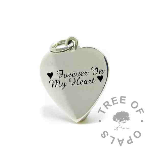 Baby and Breastfeeding Quotes engraved heart pendant in Amazone BT font, Forever In My Heart with heart symbols