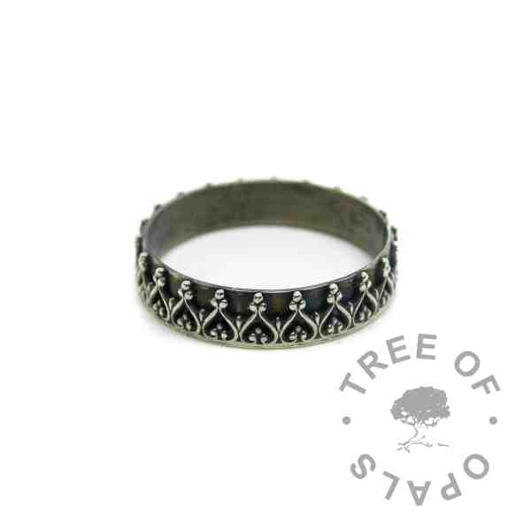 wide crown ring handmade silver ring, engravable inside the band. Limited edition ring