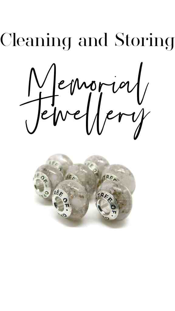 Cleaning and Storing Memorial Jewellery with seven cremation ash charms for Pandora bracelets and text