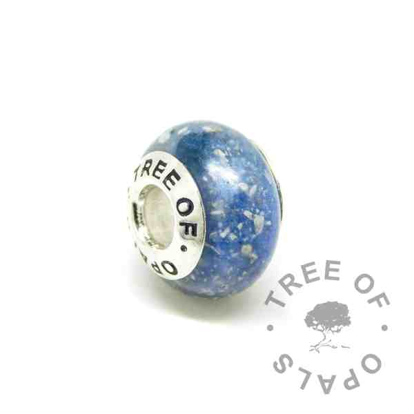 umbilical cord charm Aegean blue cremation ash charm bead with a solid 925 sterling silver Tree of Opals core. Pressed core for security (not glued on) for Pandora bracelets and necklaces