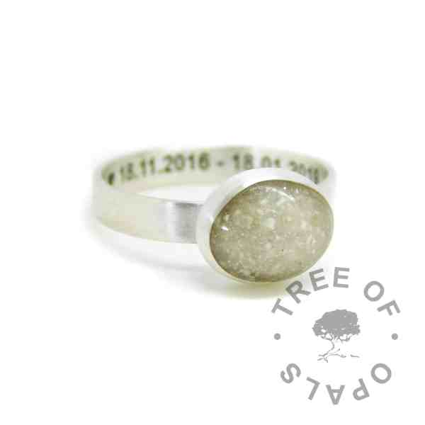 Engraved brushed band cremation ash ring with unicorn white sparkle mix. Engraved inside in Arial font and hearts. Handmade solid sterling silver memorial ring