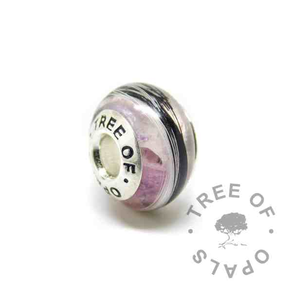 orchid purple horse hair charm bead with solid sterling silver Tree of Opals core on white background watermarked image