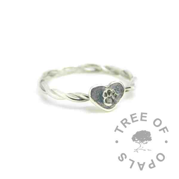 Handmade twisted wire stacking ring made with solid sterling EcoSilver. With heart accent (paw print stamped) special client request. Watermarked copyright Tree of Opals memorial jewellery image