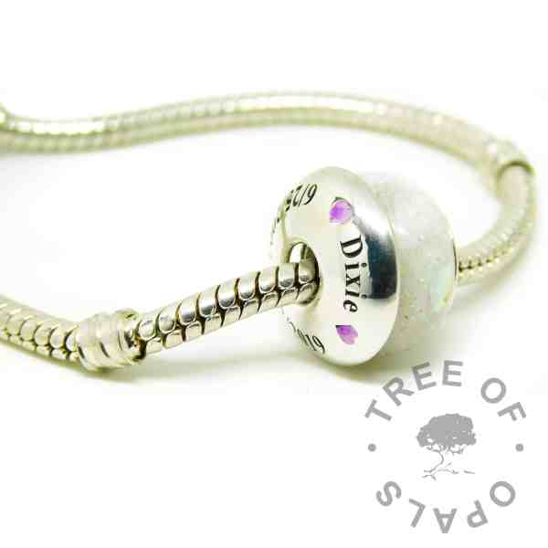 charm bead with unicorn resin sparkle mix, and an engraved charm washer on a Pandora bracelet style chain