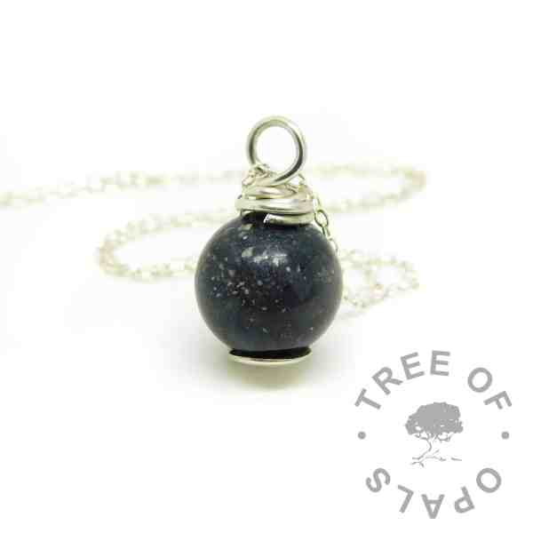"cremation ashes pearl necklace with vampire black resin sparkle mix. Includes 20""/50cm lightweight necklace chain"