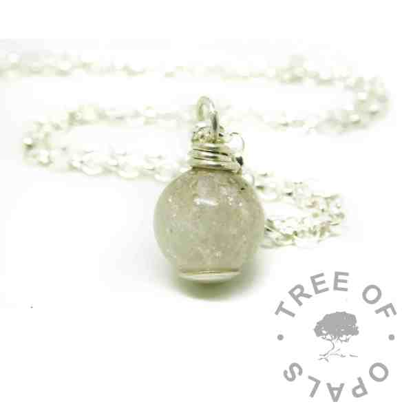 unicorn white ashes pearl necklace with smooth base and necklace chain upgrade