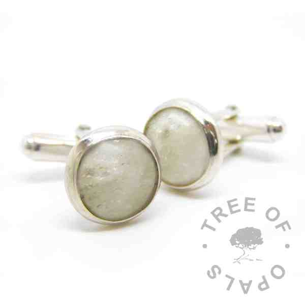 cremation ashes cufflinks unicorn white sparkles. Solid sterling silver setting