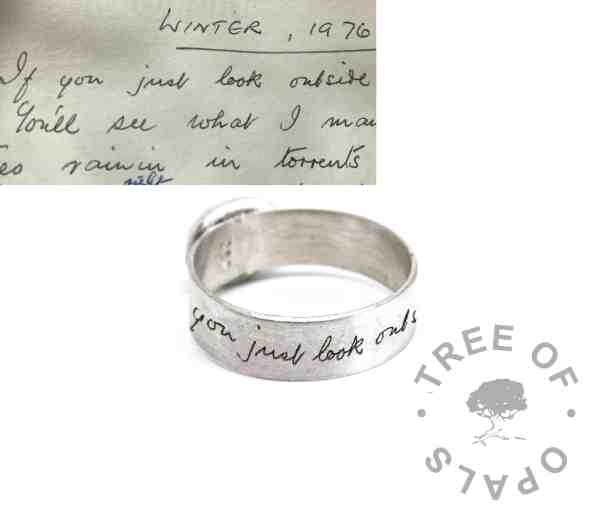 6mm brushed band ring with handwriting engraving, original shown in the inlay