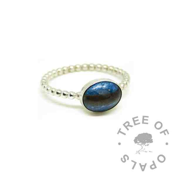 blue hair ring, Aegean blue resin sparkle mix, bubble wire Argentium silver band