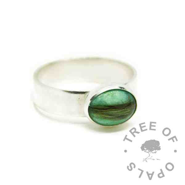 aqua hair ring, angelic aqua resin sparkle mix, 6mm shiny Argentium silver band