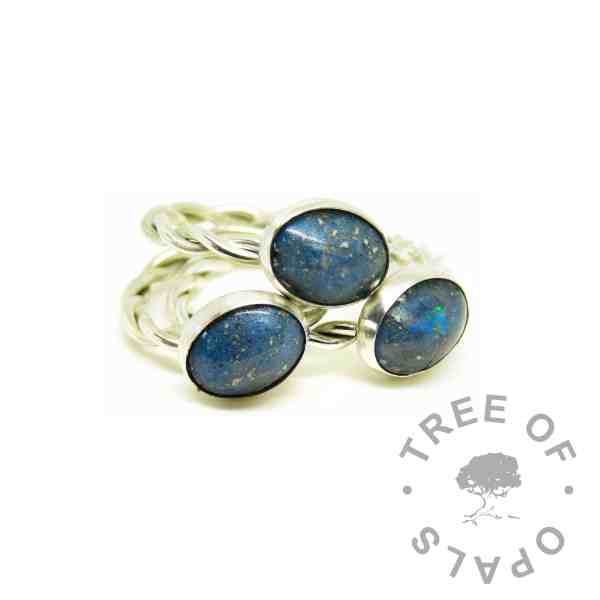 blue ashes rings, Aegean blue resin sparkle mix, twisted wire Argentium silver bands