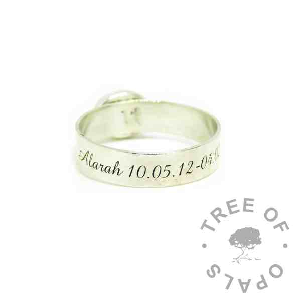 6mm shiny band engraved in Amazone BT font on the outside of the band. Child memorial ring