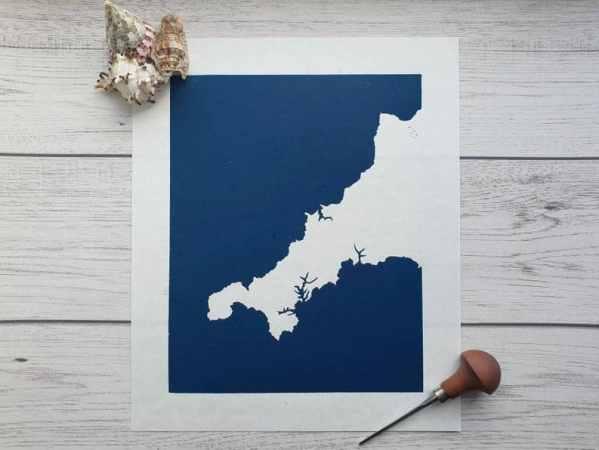 Cornwall linocut print