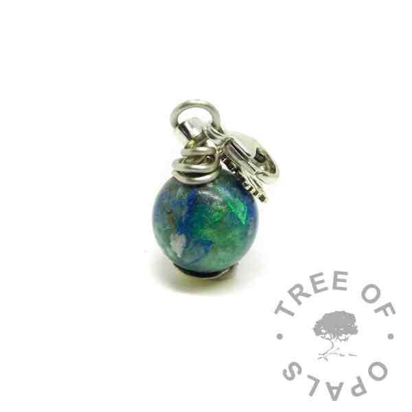 hair pearl blue green, lobster clasp setting