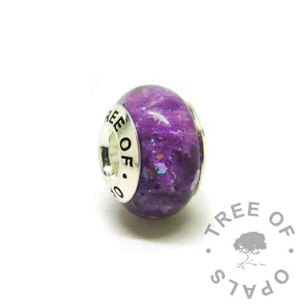 ashes charm with Tree of Opals core, orchid purple resin sparkle mix cremation ashes charm bead