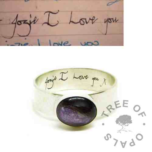 Memorial DNA jewellery purple hair ring handwriting, lock of hair ring on 6mm shiny band with handwriting engraving on the inside. Orchid purple resin sparkle mix