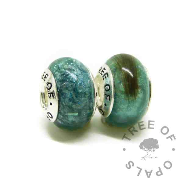 ashes and hair charm duo with Tree of Opals core, mermaid teal resin sparkle mix cremation ashes and lock of hair charm beads