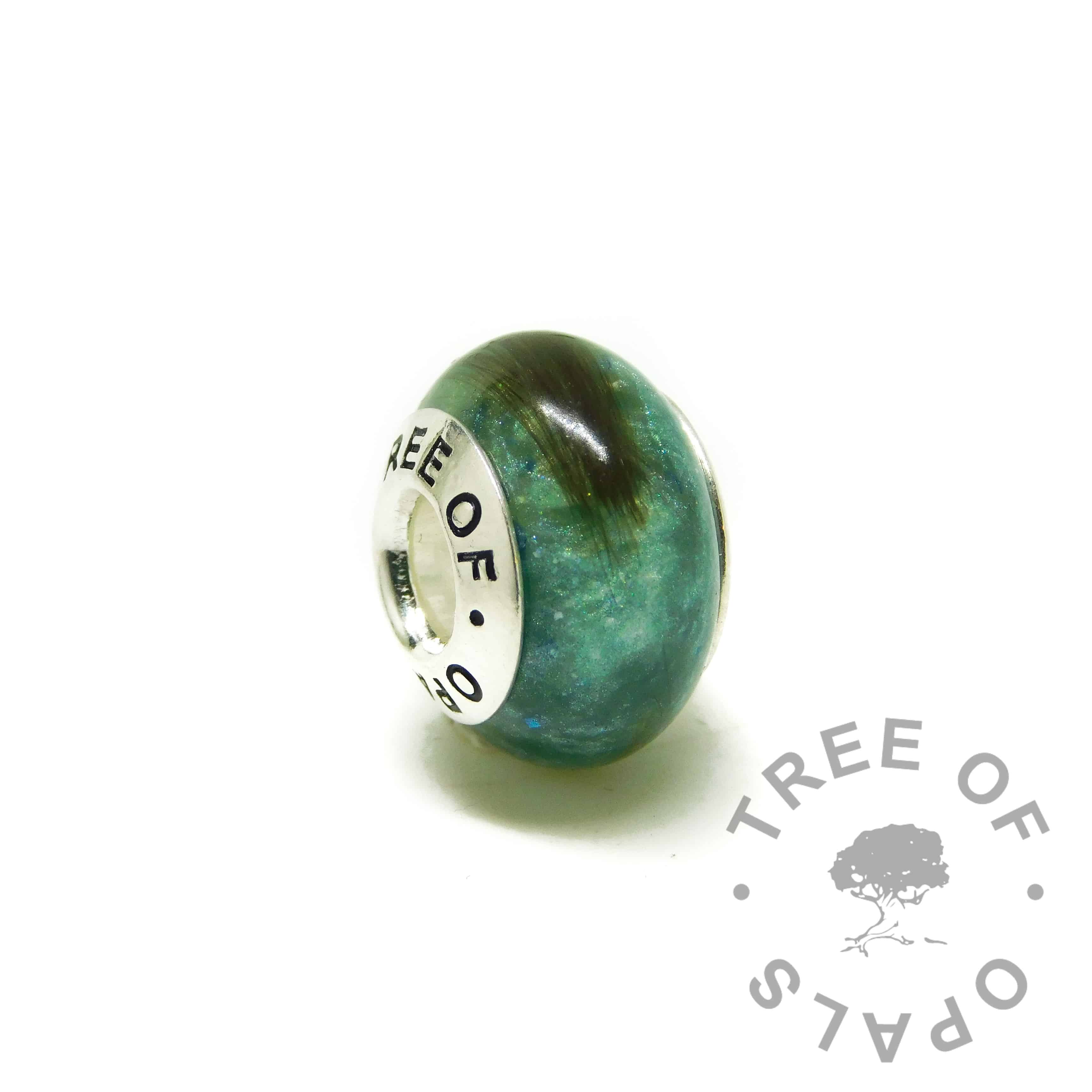 hair charm with Tree of Opals core, mermaid teal resin sparkle mix lock of hair charm bead