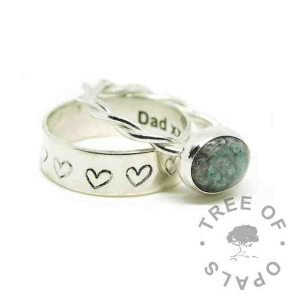 aqua ashes ring, cremation ashes ring on twisted band. Angelic aqua resin sparkle mix. Shown with a heart handstamped 6mm band stacking ring, engraved Dad xx inside