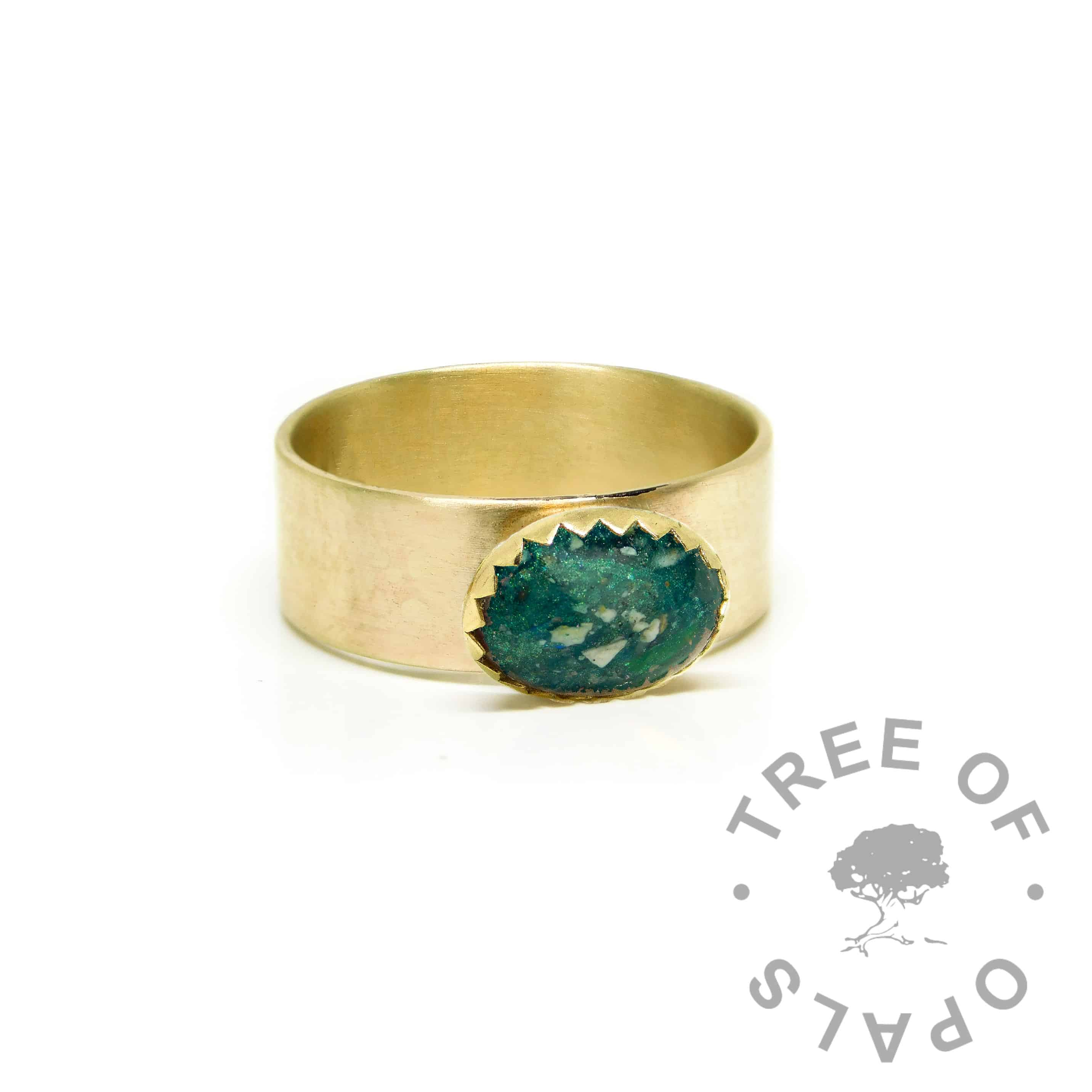 chunky gold ashes ring wide band, 9ct gold brushed band, mermaid teal resin sparkle mix. Mockup