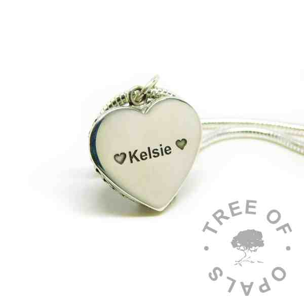 engraved heart necklace, engraved in Arial font with two heart emojis