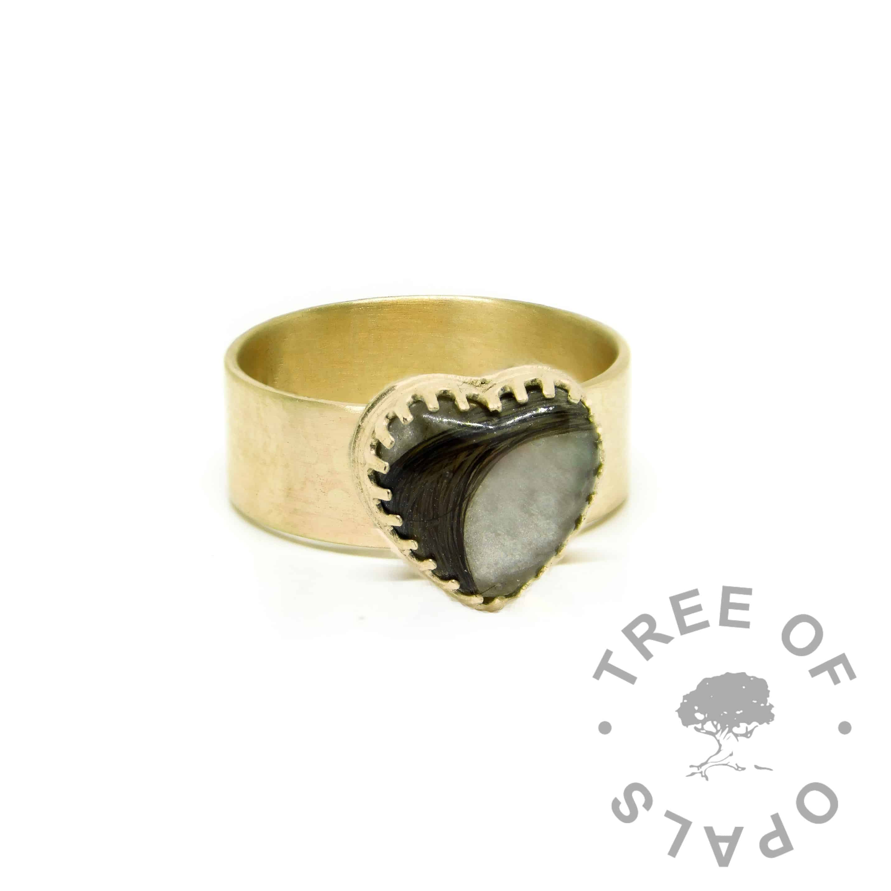 gold hair heart ring wide band, 9ct gold brushed band, unicorn white resin sparkle mix. Mockup