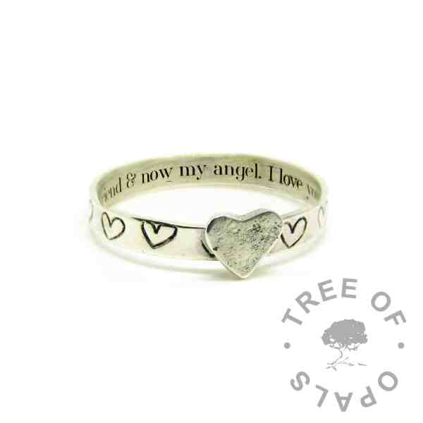 engraved ring with Silver South Serif font. Handstamped hearts and a soldered heart accent in textured recycled silver