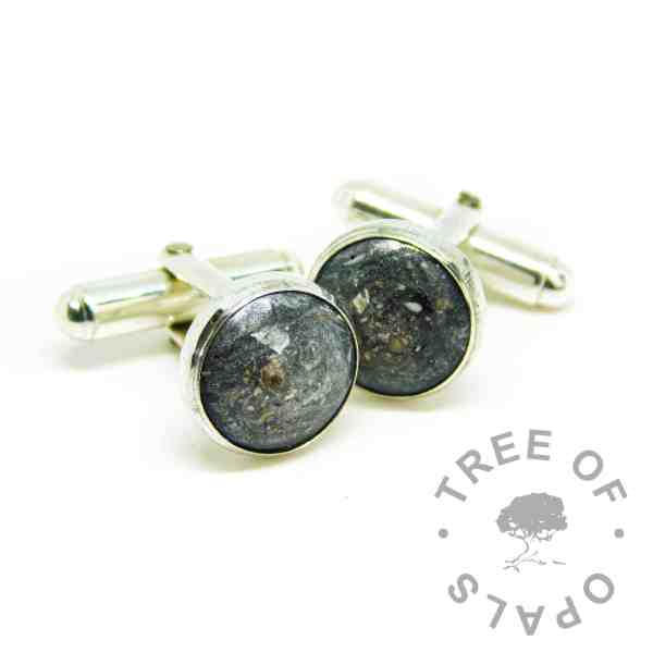 mens ashes jewellery, cremation ashes with black and white resin sparkle mix in 12mm cufflink settings