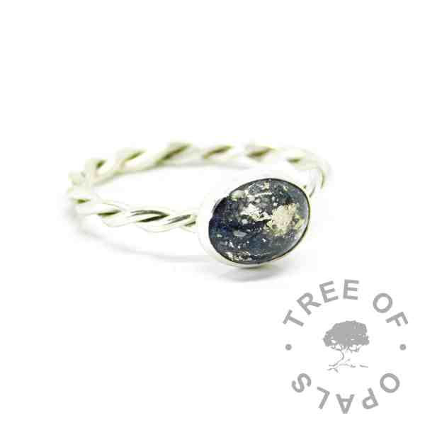 Ashes ring on twisted band with vampire black resin sparkle mix with white gold leaf