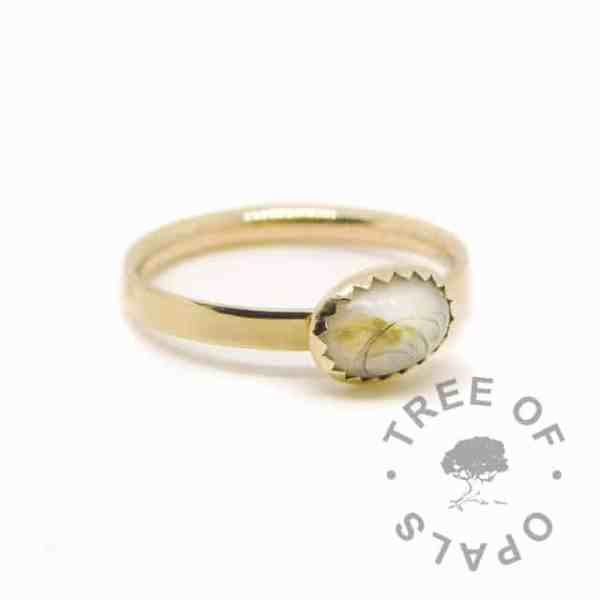 Solid 14ct gold breastmilk ring with brushed band and 8x6mm serrated bezel cup. Classic breastmilk and first curl with baby's vernix (taken shortly after birth), hallmarked gold ring