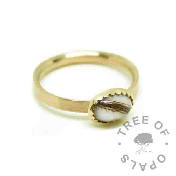 Solid 14ct gold breastmilk and hair ring with brushed band and 8x6mm serrated bezel cup. Classic breastmilk and first curl, hallmarked gold ring