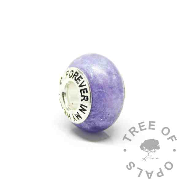 purple ashes charm with forever in my heart bead core. Orchid purple resin sparkle mix