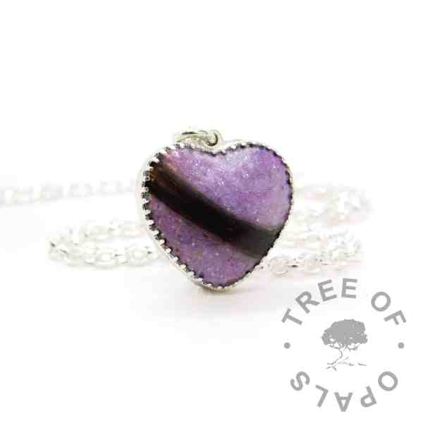 New style heart necklace setting with scalloped edge. Orchid purple resin sparkle mix, lock of hair, shown with a medium classic chain upgrade (mockup of new setting)